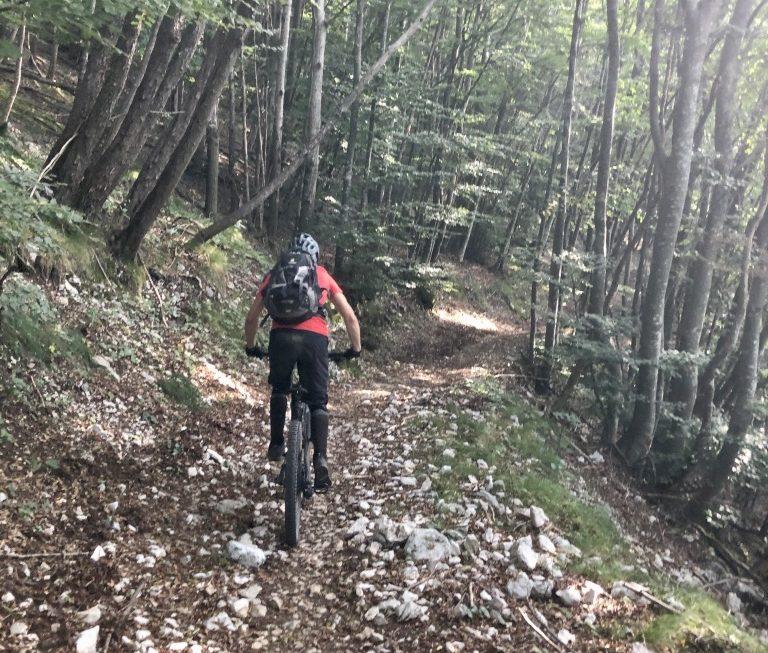 Kurz hinter dem Einstieg geht es erstmal schnell aber vergleichsweise harmlos bergab und in Richtung des Dosso dei Roveri.